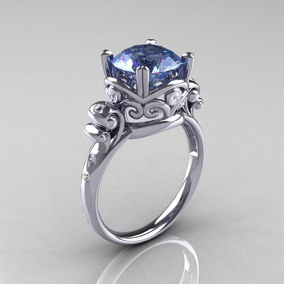 Modern Vintage 10K White Gold 2.5 Carat Blue Topaz Diamond Wedding, Engagement Ring R167-10KWGDBT