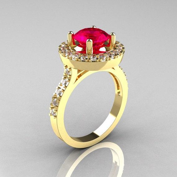 Items similar to Classic 14K Yellow Gold 1 5 Carat Rubie Diamond Solitaire We