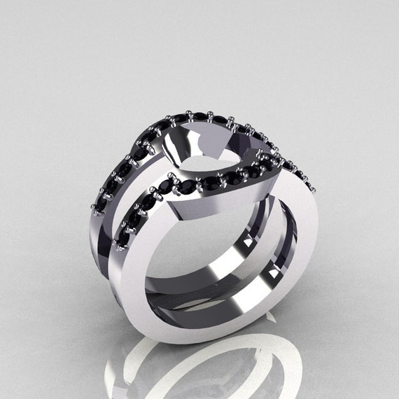 Classic 14K White Gold Black Diamond Wedding Band Pair Matching Solitaire Wedding Ring R301-M2-14WGDBL