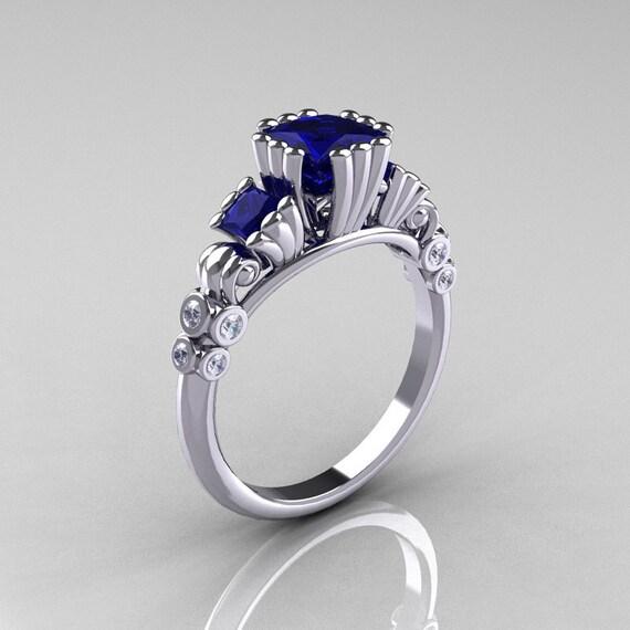 Items similar to Classic 10K White Gold 1 25 CT Princess Blue Sapphire Diamon