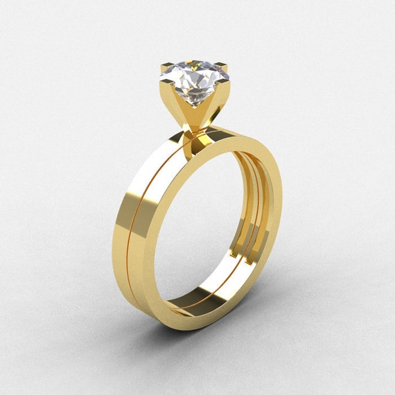 Items similar to Modern 10K Yellow Gold 1 0 CT White Sapphire Solitaire Engag
