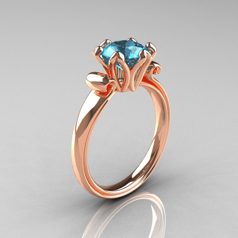 Modern Antique 14k Rose Gold 1 5 Carat Aquamarine Solitaire