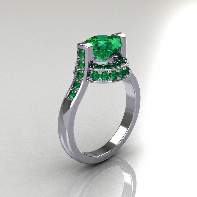 Italian Bridal 10K White Gold 1 5 Carat Emerald Wedding Ring