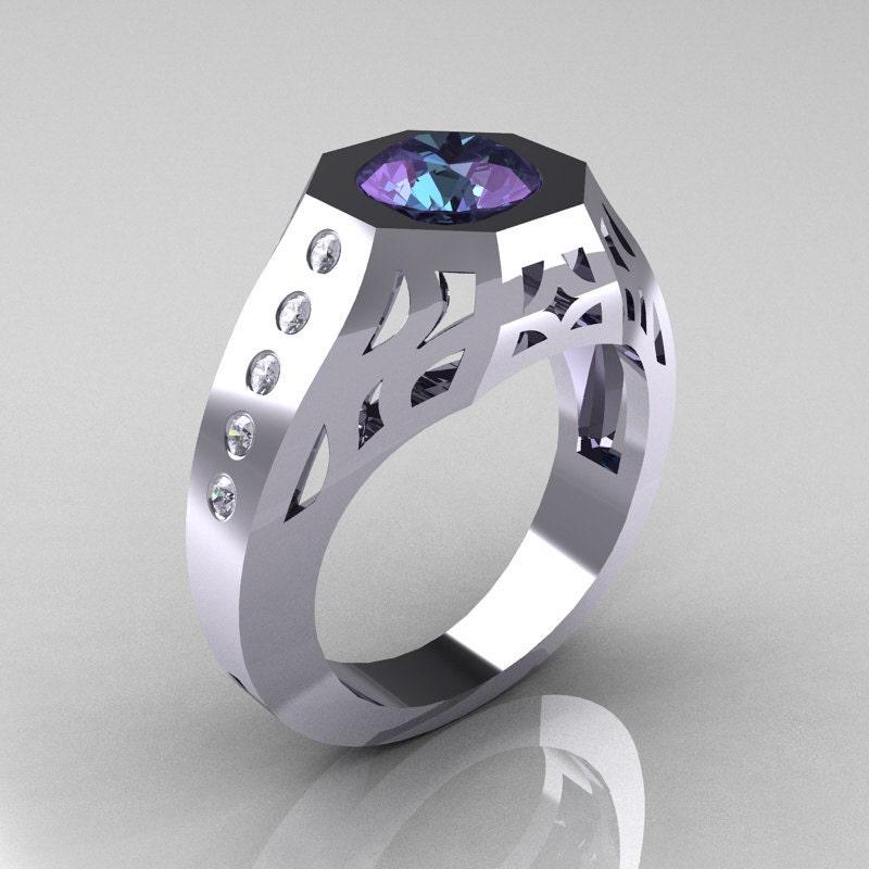10 000 Up Diamond: Gentlemens Modern Edwardian 10K White Gold 1.5 Carat