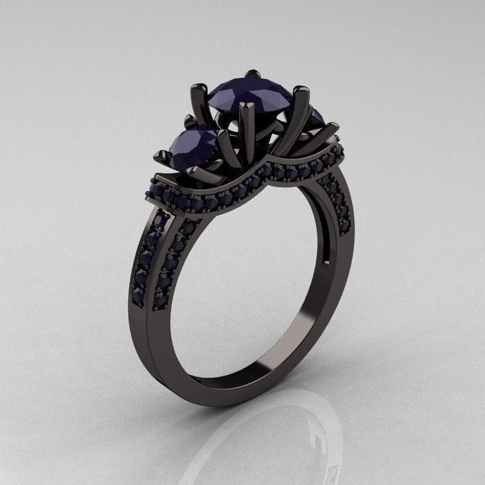 Inspirational Black Metal Engagement Ring