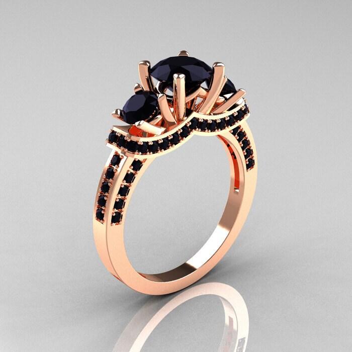 French 18K Rose Gold Three Stone Black Diamond Wedding Ring