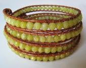 SALE! Olive Jade Leather Wrap Bracelet