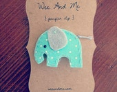Aqua Elephant - Featured by Tori Spelling - Felt Pacifier Clip - Ready to Ship