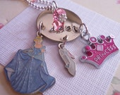 Girls Hand Stamped Personalized CINDERELLA DISNEY PRINCESS Charm Necklace