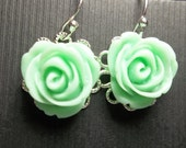 Mint Green Rose Cabochon Earrings - Sterling Silver earwire - Bridal jewelry - Bridesmaids - Wedding Jewelry -