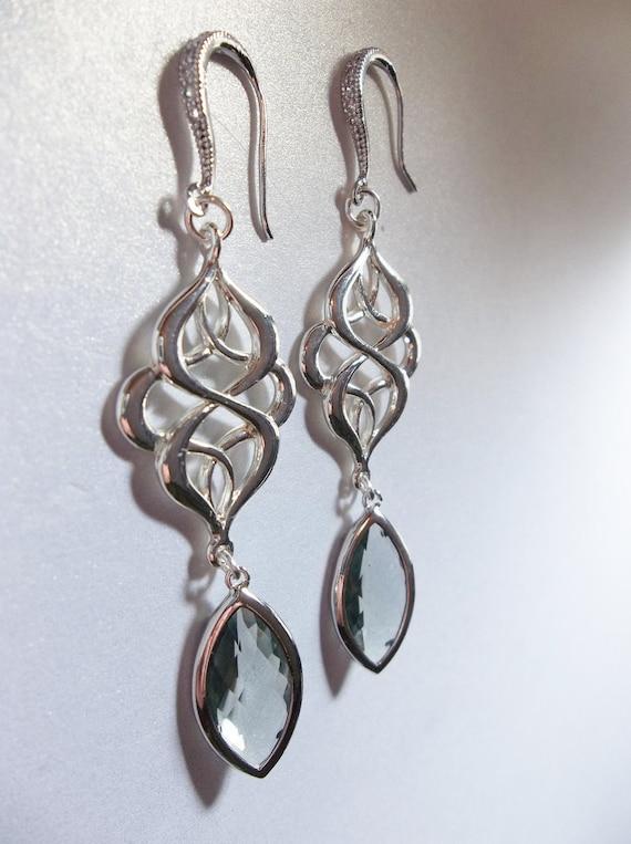 Black Diamond crystal earrings - Long - Sterling Silver ear wires  - Statement earrings - Bridal jewelry -