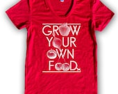 Grow Your Own Food Women's Poly Cotton T-Shirt by American Apparel (S M L XL) Choose Your Shirt and Ink Colors - Linthound