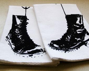Hanging Combat Boots Set of 2 Cotton Napkins