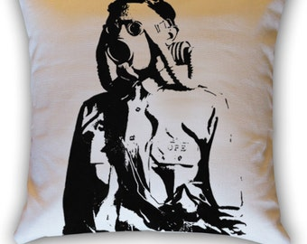 Gas Mask Soldier 14 x 14 Throw Pillow (CASE ONLY)