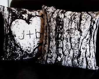Set of 2 Tree Bark/Wood Grain 14 x 14 Throw Pillow (CASES ONLY)