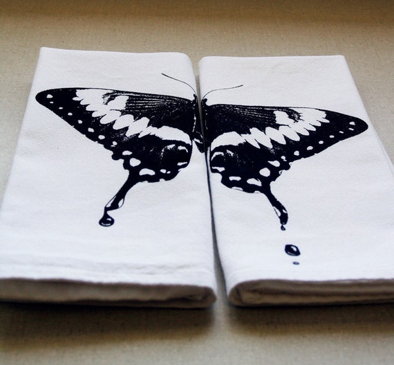 Dripping Butterfly Set of 2 Cotton Napkins