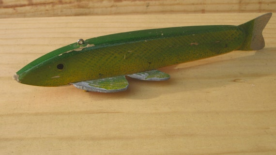 1960s George Randall Green Pike-Folk Art Ice Fish Spearing Decoy-Ice Fishing ON SALE