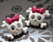 Hot Pink Skull and Crossbones Earrings