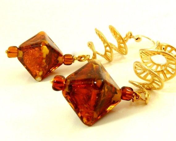 Amber Glass Lampwork Earrings