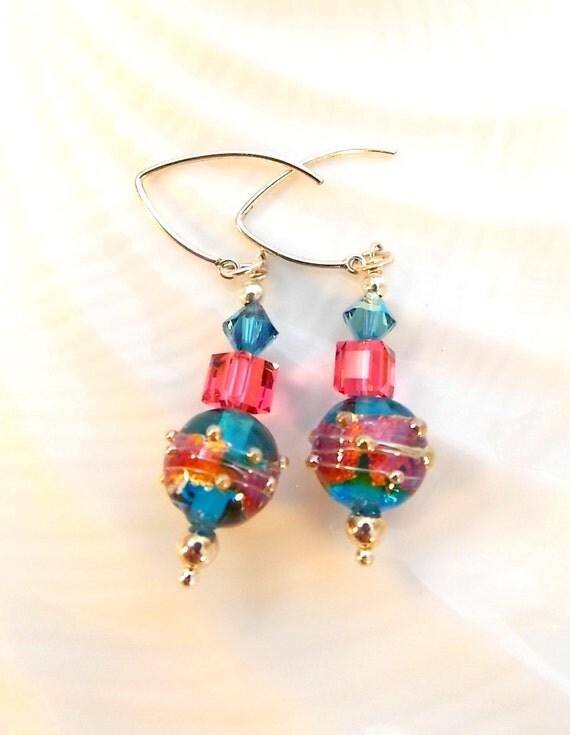 Pink and Blue Lampwork Earrings Teen Girls