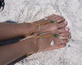 Handmade Hemp Mermaid Barefoot Sandals. Sea Sandals, Gorgeous for Beach Weddings, Cruise Wear, Pool Party, and  trips to the Beach.