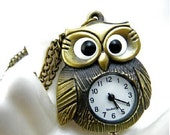antique bronze owl necklace pocket watch clock necklace gift cute