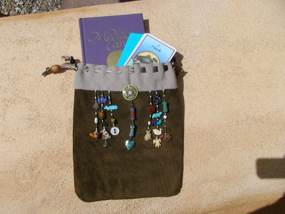 "Leather ""Couples"" Animal Medicine Card Bag with Totems Custom Made"