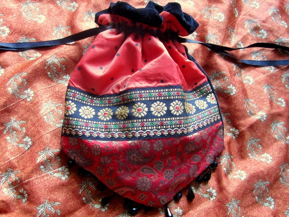 Exotic Wanderess Ethnic Print Nomad Purse - Red Black Turkish India Middle Eastern Polka Dot Print Pouch - Rune, Tarot, Gypsy, ATS