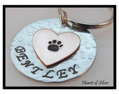 Personalizled Copper Heart Pet ID Tag- Hand Stamped Large Aluminum Disc with Copper Heart