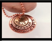 Mixed Metal Mommy Necklace- Hand Stamped Brass , Sterling Silver, and Copper Domed Discs