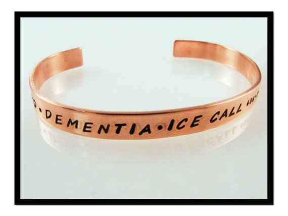 Copper Cuff Medical Alert Bracelet- Handstamped Solid Copper ID Bracelet