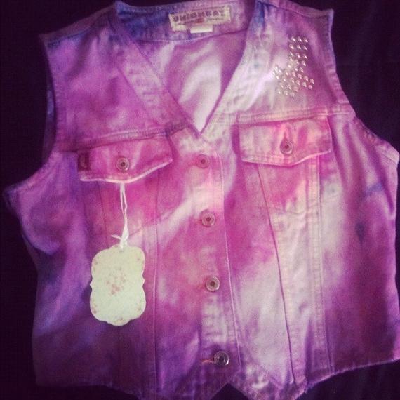 RAVE Tie dyed hipster studded cross pink/purple Vest