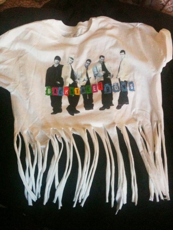 Vintage 1990s Backstreet Boys Boy Band Fringed Tee