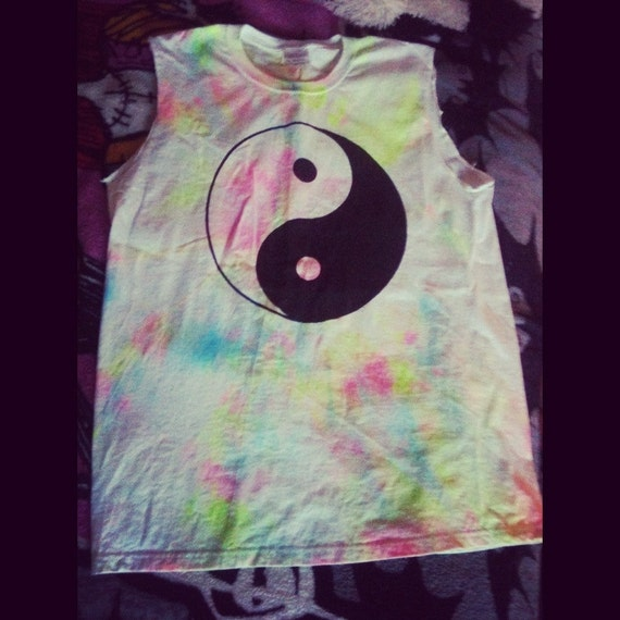 Tie Dyed Grunge Inspired Hippie Tripped Cut Off Tank
