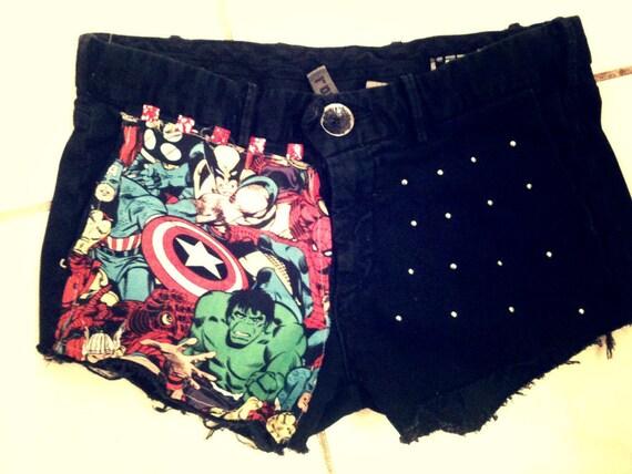 Black Studded AVENGERS grunge shorts