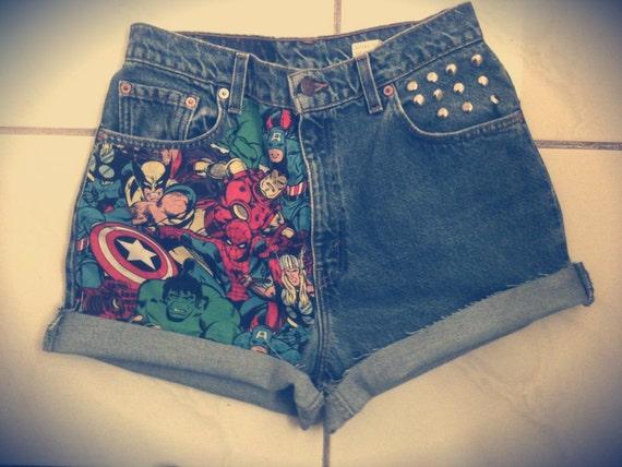 The AVENGERS Marvel Cuffed High Waist Studded Levi Shorts
