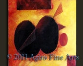 ORIGINAL Modern oil Painting by Giro in orange & maroon tones impasto pallet knife 61x 76cm site, Agiro Fine Arts
