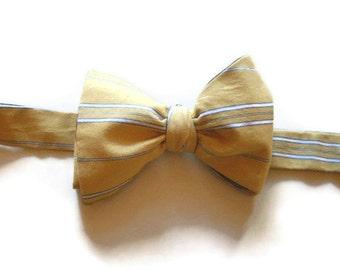 Bow Tie Yellow Stripe Cotton Self Tie Adjustable