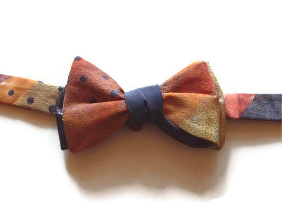 Silk Bow Tie Hand Painted Copper Gold Gray OOAK