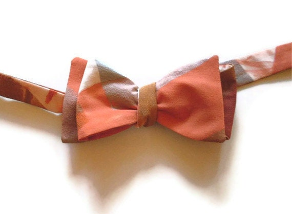Silk Bow Tie Hand Painted Copper Silver Gold OOAK