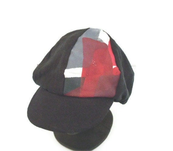 Newsboy Slouch Hat Hand Painted Raw Silk