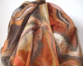 Felted scarf Wrap Fashion Shawl Nuno Felted Wool Silk Art organic natural eco materials nunofelting hand dyed gift for her for mom  Autumn