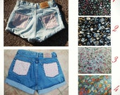 Floral Denim Shorts MADE TO ORDER