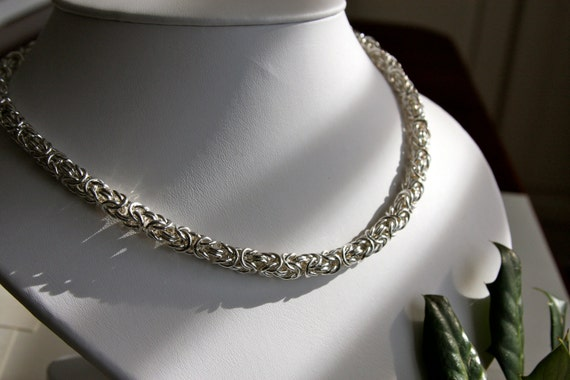 Necklace, Byzantine chain maille, sterling silver, sterling silver box clasp with black crystal, gift