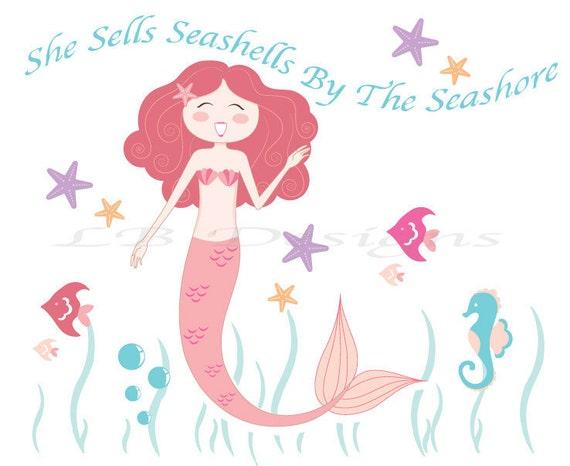 She Sells Seashells by the Seashore - Pink Mermaid Nursery Art, Mermaid Bedroom Decor 8x10
