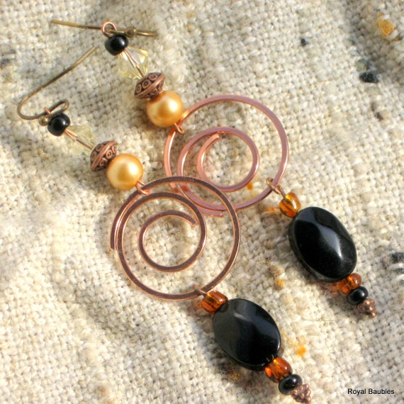 Classy Black and Bronze metal spiral drop earrings with coffee and bronze accents