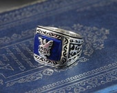 in stock now---Jeremy's revival ring from uncle John the vampire diaries sterling silver real lapis stone
