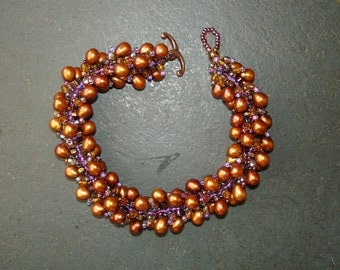 Copper color Fresh Water Pearl Bracelet woven with Japanese Seed Beads, 8 inches