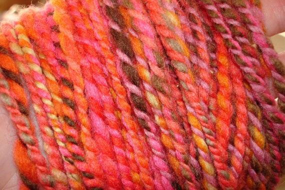 Hand Spun, Hand Dyed Domestic Wool Yarn, 2 ply Bulky weight in orange and pink, 107 yards