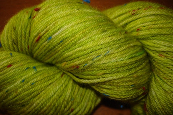 Hand Dyed Superwash Yarn, Fingering Weight, 240 yards, bright lime-green